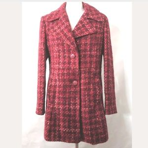 Guess Tweed Peacoat Wool Blend Jacket Coat Mod Red